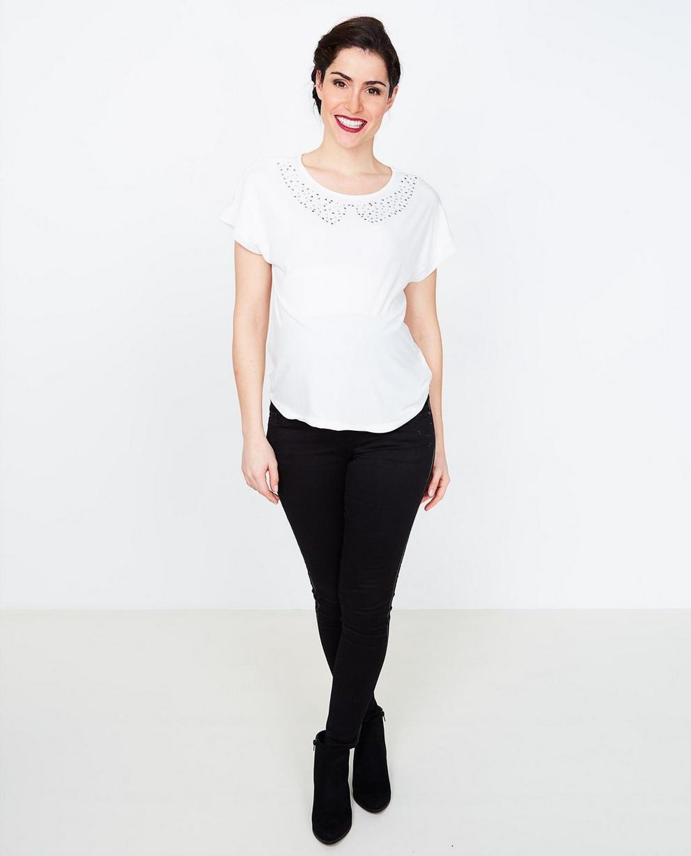T-shirt met studs - in roomwit - Joli Ronde